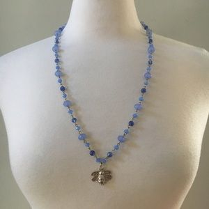 Chico's Blue Lilac Silver Bee Pendant Necklace